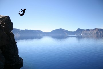 Diving into Crater Lake, Oregon