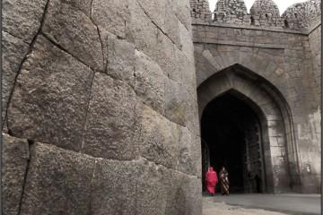 Entering Golkonda Fort, India