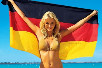 Eva Padberg with the German Flag