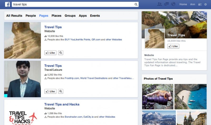 Search Facebook Pages (screenshot)