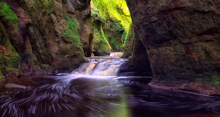 Finnich Gorge Waterfalls, Scotland