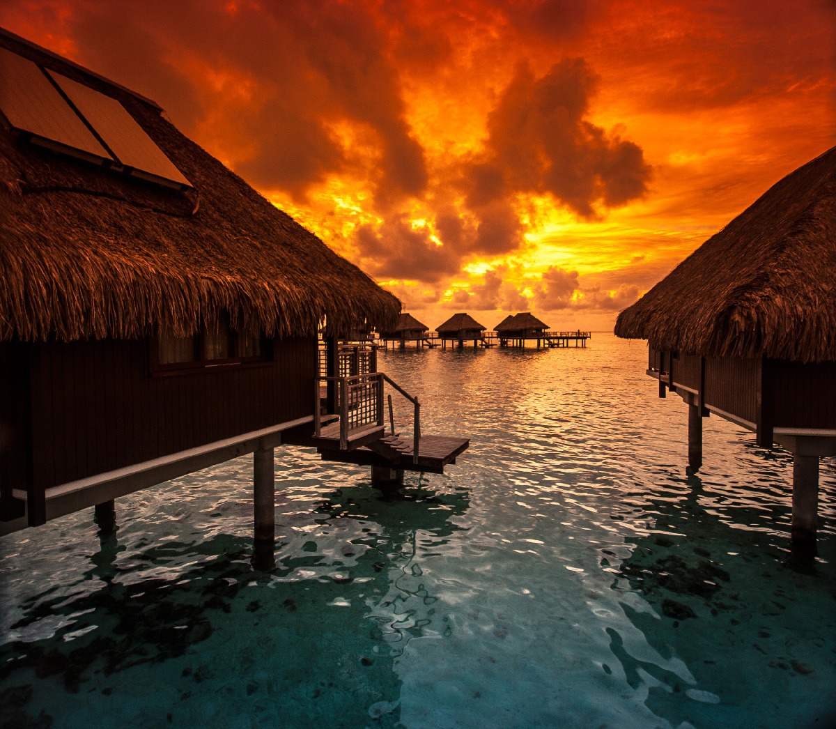 Tahiti Accommodation Over Water Bungalows: Photo Of The Moment: Fire In The Sky, Tahiti