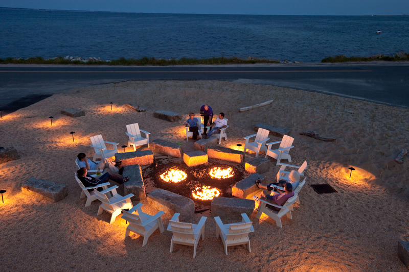 Outdoor Fire Pit at Harbor Hotel, Provincetown, Massachusetts