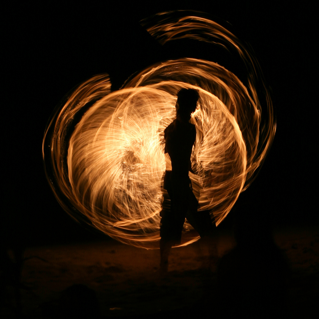 Fire Swinging in Koh Tao, Thailand