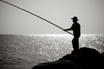 Silhouette of fisherman in Byblos, Lebanon
