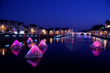 Floating Christmas Pyramids in Laval, France