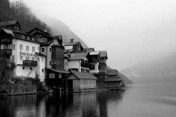 Village of Hallstatt, Austria in dense fog
