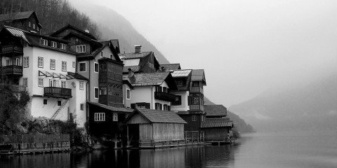 Village of Hallstatt, Austria in dense fog
