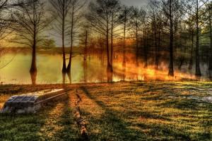 A Foggy Sunrise at Finch Lake, Louisiana
