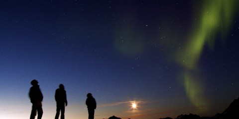 Three travelers watching the Northern Lights in Greenland