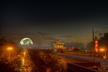 Full Moon Over Xi'an, China