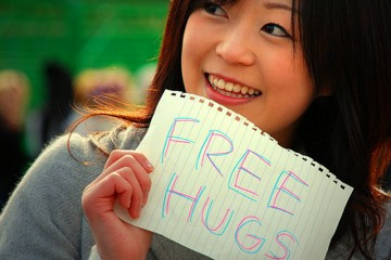 Girl Giving Out Free Hugs, Tokyo
