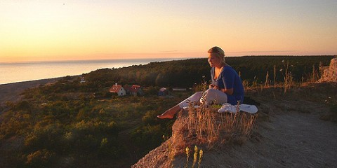 Girl on Hilltop in Gotland, Sweden