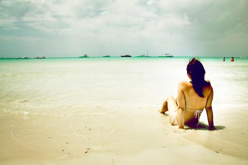 Girl on beach in Mallorca