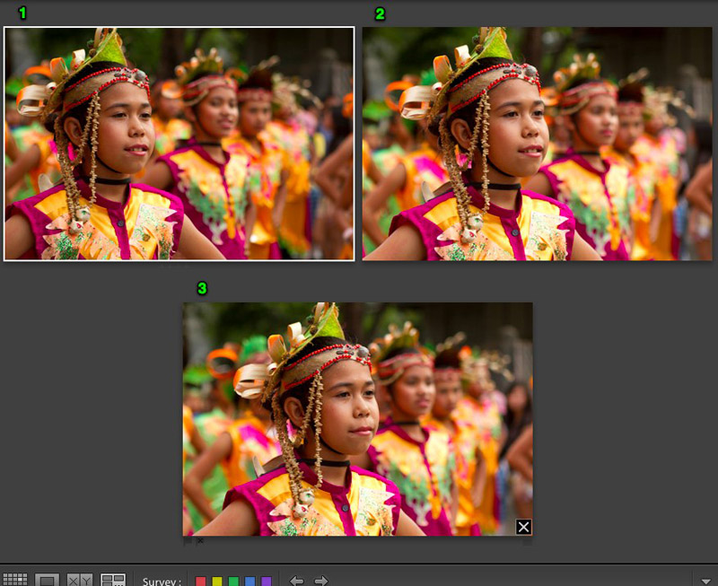 Four variations of same travel photo of Girls at Moriones Festival Parade in Gasan, Philippines