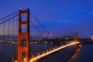 Golden Gate Bridge and Skyline of San Francisco, California
