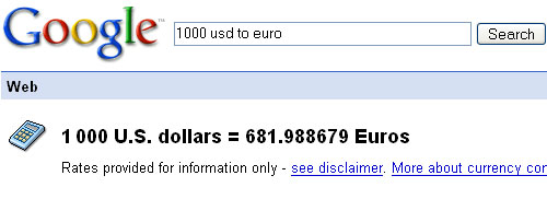 Google Shortcut: Currency US Dollars to Euros