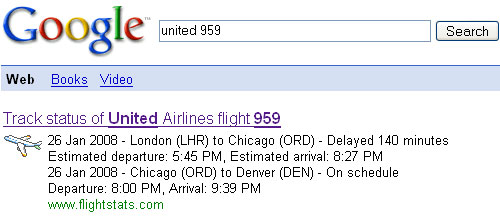 Google Shortcut: Flight Status