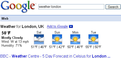 Google Shortcut: Weather