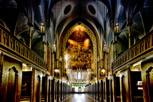 Interior, low-angle shot of The Church of the Holy Innocents, New York City