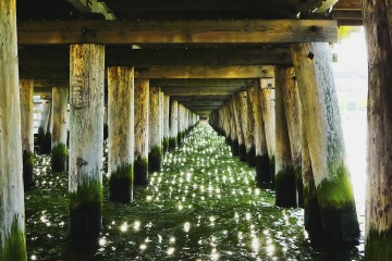 View of green water from beneath pier in Sopot, Poland