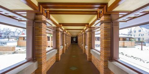 Hallway at Frank Lloyd Wright's Darwin Martin House