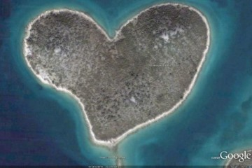 Heart Shaped Island (via Google Earth)