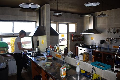 Traveler in Hostel Kitchen, Patagonia