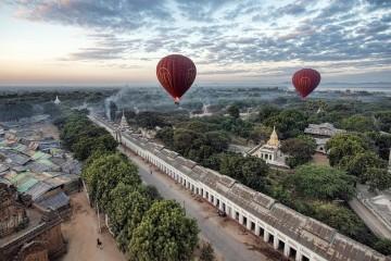 Hot air balloons over Myanmar
