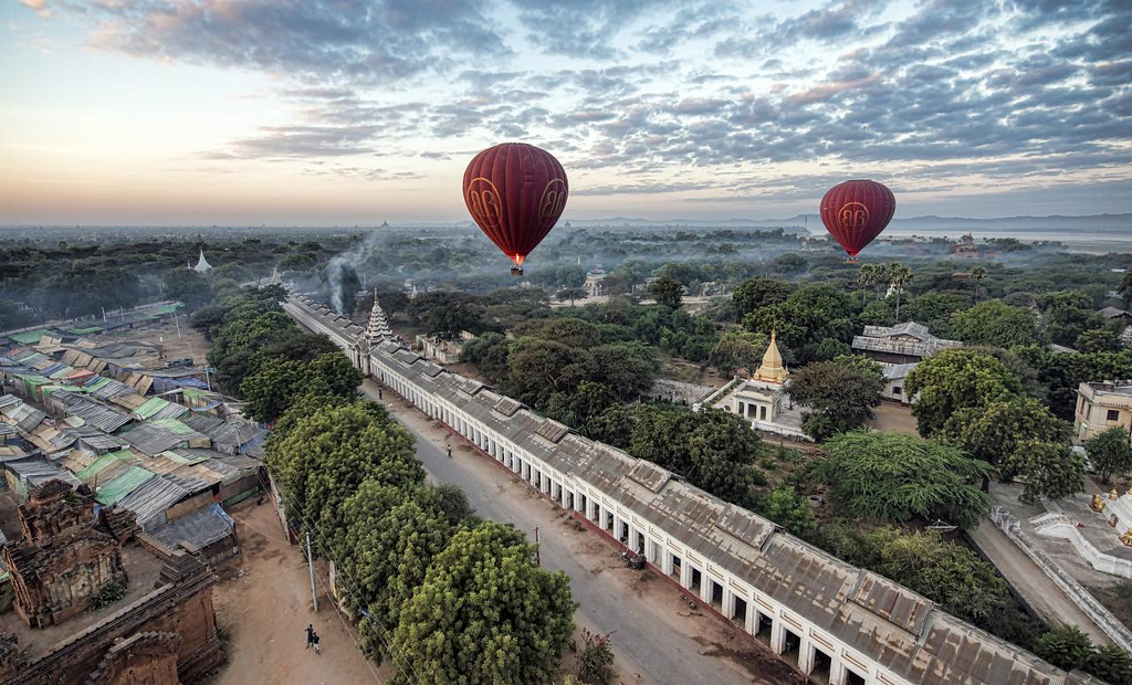 Hot air balloons over Myanmar