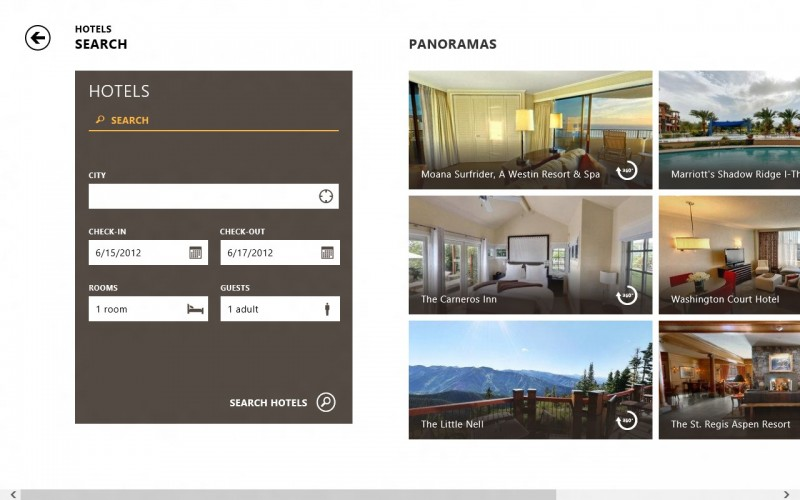 Hotel Search in Bing Travel App for Windows 8 (screenshot)