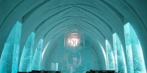Interior of the Ice Hotel church in Sweden