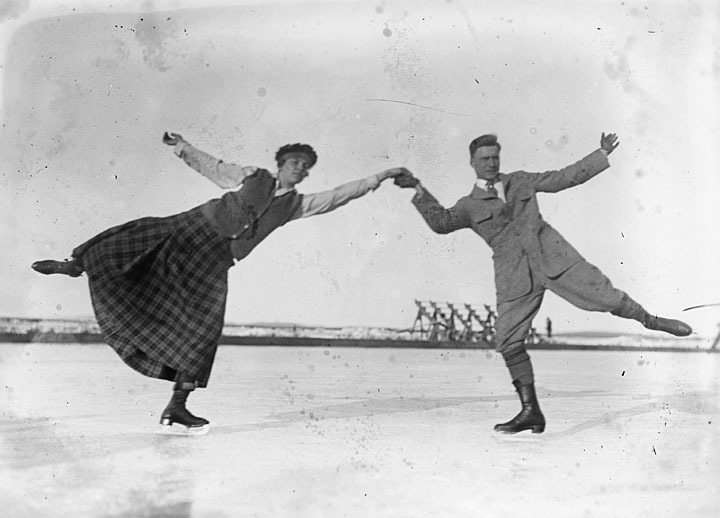 Vintage ice skating couple