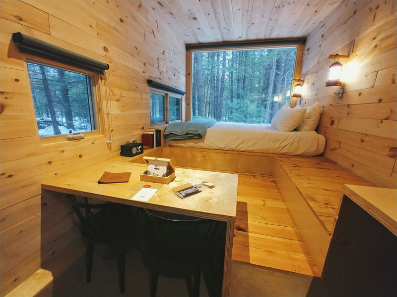 Interior layout of cabin at Getaway House Boston