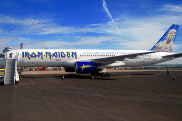Sideview of custom Iron Maiden airplane