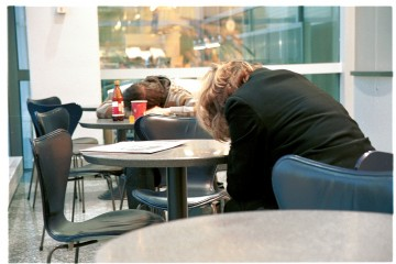 Jet Lagged Passengers at Frankfurt Airport, Germany