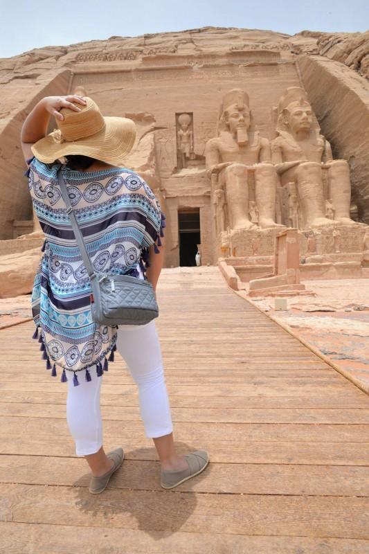 Kelsey standing outside Abu Simbel Temples