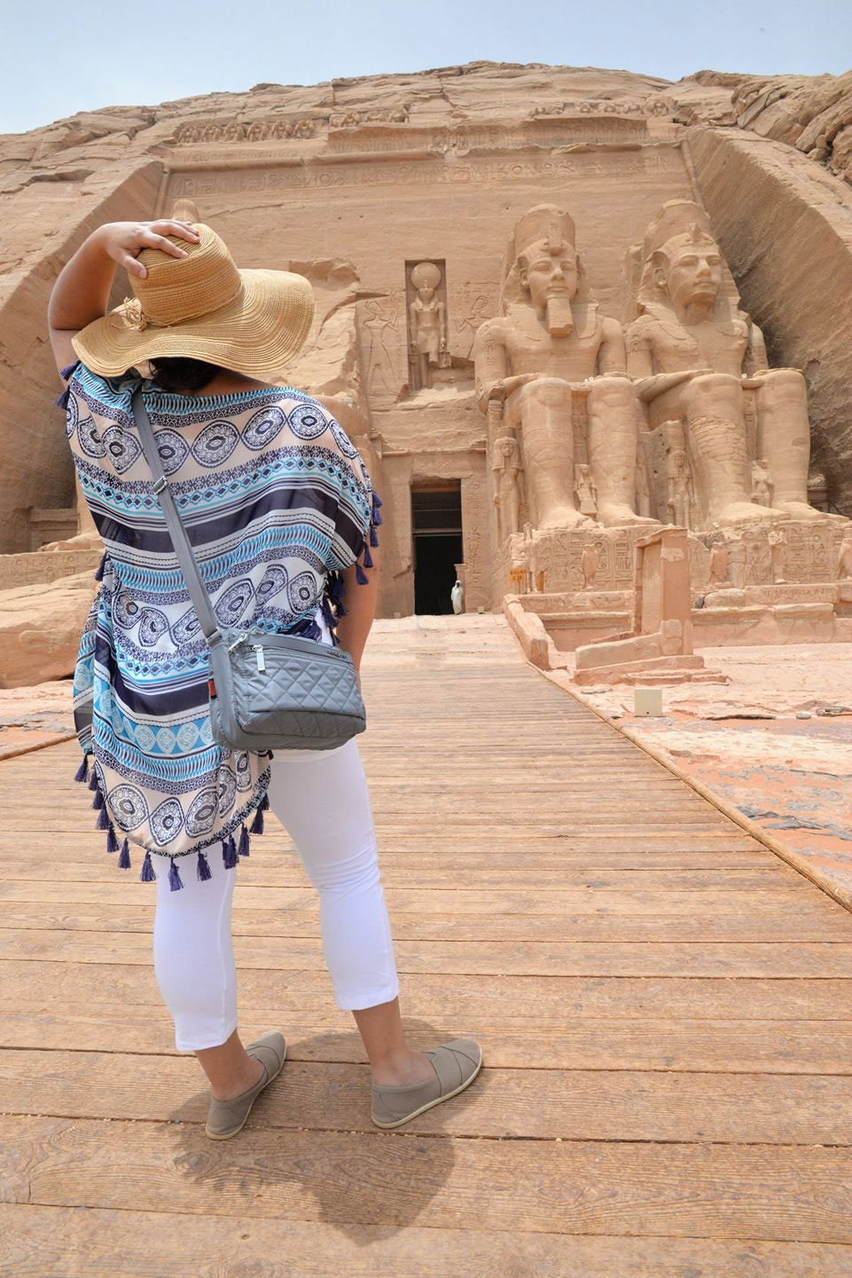 Kelsey standing outside Abu Simbel Temples