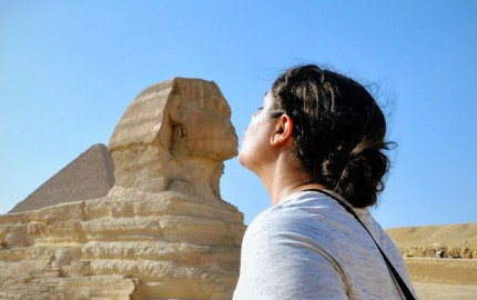 Kelsey kissing the Sphinx in Egypt