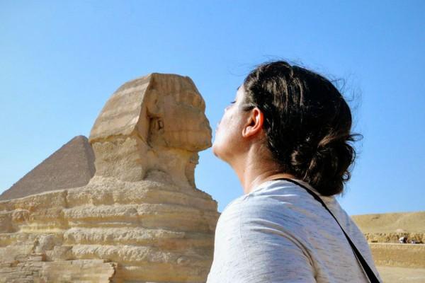 Kelsey kissing the Sphinx in Egypt