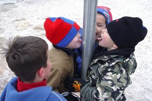 Kids Licking Flagpole