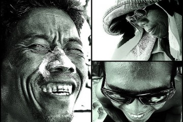 Closeup B&W portraits of Kuta beach people