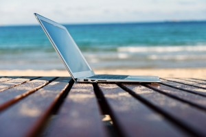 Laptop Near the Beach