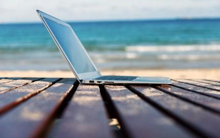 Laptop Near the Beach