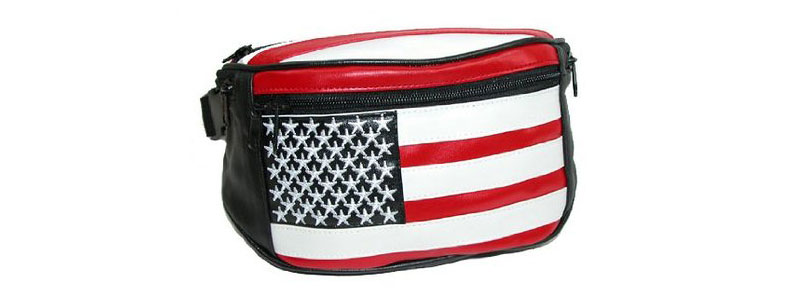 Leather American Flag Fanny Pack
