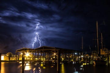 Thunder and Lightning Storm Over Grand Isle, Louisiana