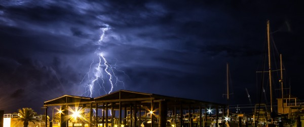 Thunder and Lightning Storm Over Grand Isle, Louisiana