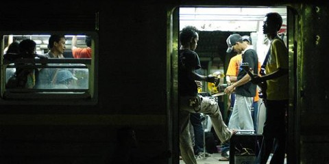 Live music on train in Indonesia
