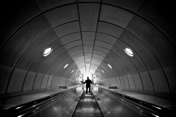 Silhouette of Man in London Subway