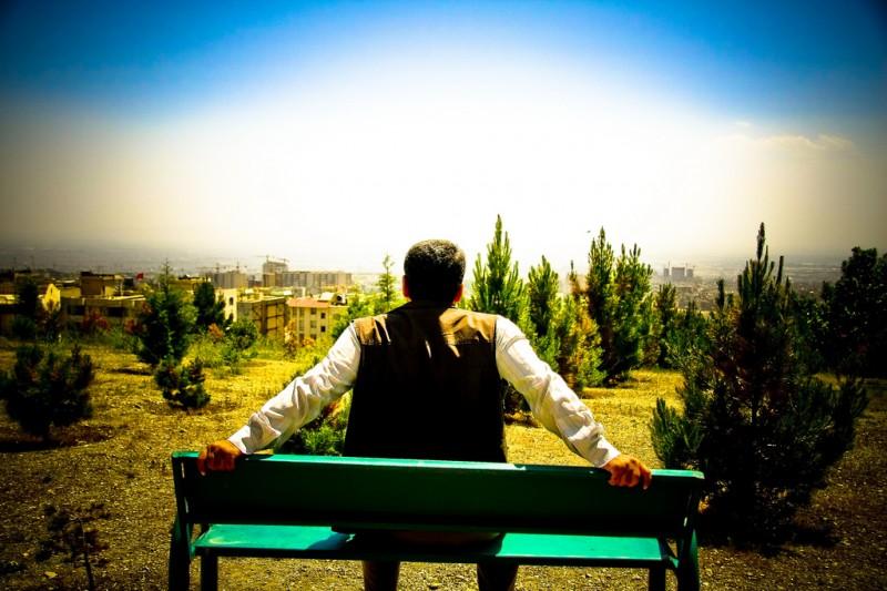 Lone Man on a Bench in Tehran, Iran